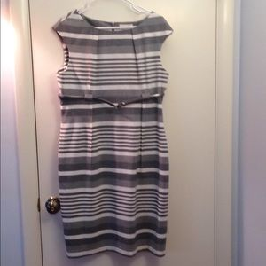 Gray and white stripe dress
